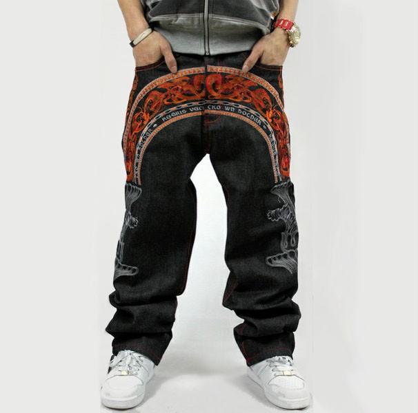 New Mens HipHop Jeans Denim Rhino Baggy Loose Pants ...
