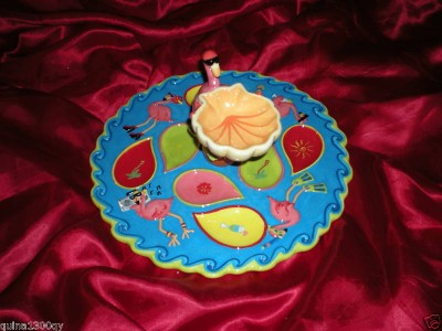REDNECK CHRISTMAS PINK FLAMINGO OYSTER DEVILED EGGS PARTY SERVING PLATTER TRAY