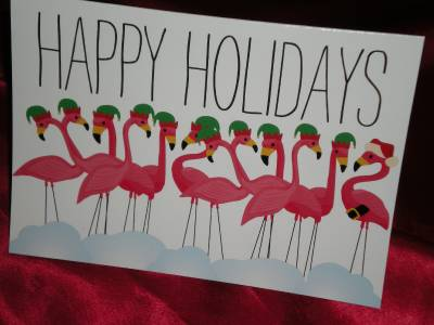 Flamingo Christmas Cards.Details About Happy Holidays Three Custom Pink Flamingo Christmas Greeting Cards And Envelopes