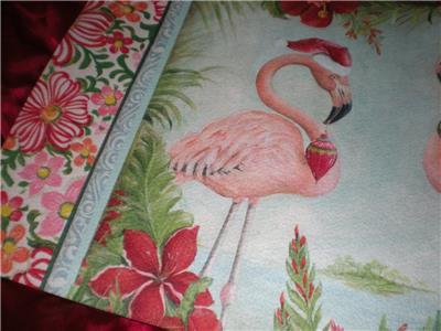 Two Tropical Pink Flamingo Reds Christmas Santa Hats