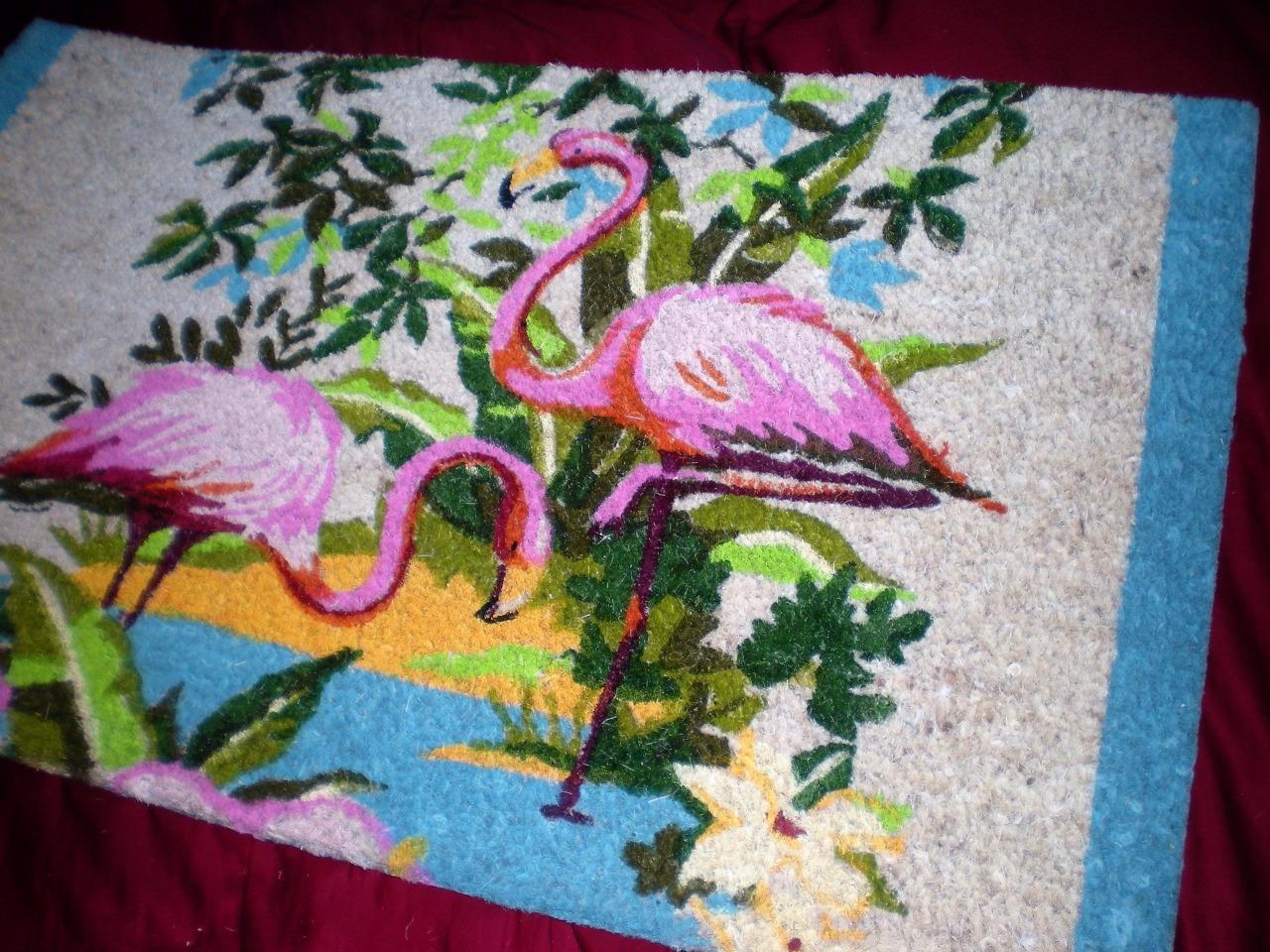 Tropical Pink Vintage Flamingos Welcome Coir Flamingo Door