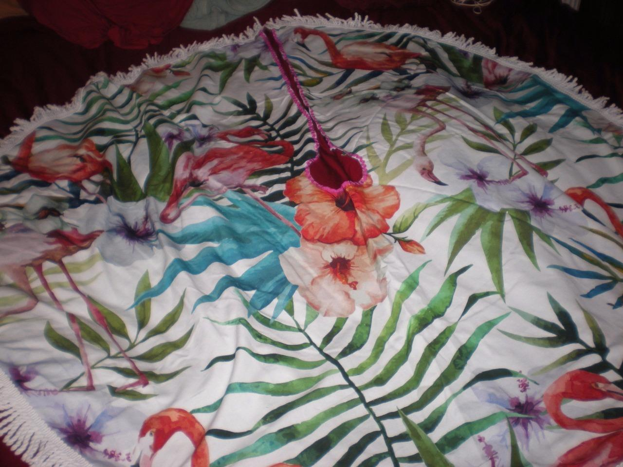 TROPICAL PINK FLAMINGO CHRISTMAS TREE SKIRT 5 FT ROUND