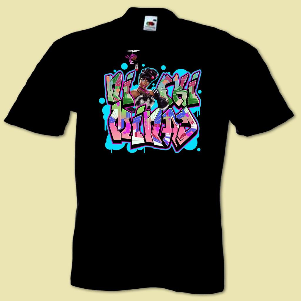 Mans hip hop music graffiti t shirt inspired by nicki minaj lil
