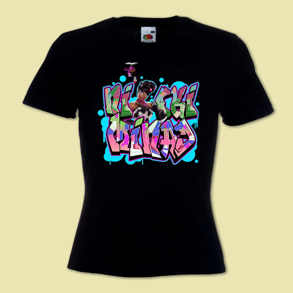 Womans hip hop music graffiti t shirt inspired by nicki minaj lil