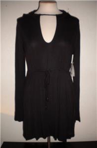 Trina Turk Womens Soft Knit Longline Hooded Tunic
