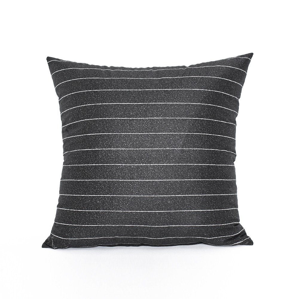16 x 16 modern charcoal gray stripe throw pillow cover ebay. Black Bedroom Furniture Sets. Home Design Ideas