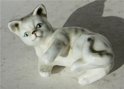 Russian Selenite Cat Figurine Playful Kitten Figurine