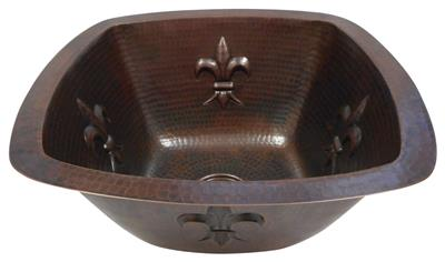 """15/"""" Square Copper Bar Prep Sink Fleur de Lis Design Drain and 12/"""" ORB Faucet"""