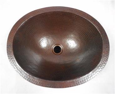"""Medium 17"""" x 14"""" Oval Copper Bathroom Sink with Flat Rim for Dual Mount"""