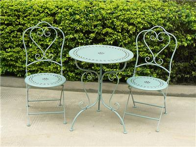 bistro set garden furniture table and chairs shabby style chic antique green ebay. Black Bedroom Furniture Sets. Home Design Ideas