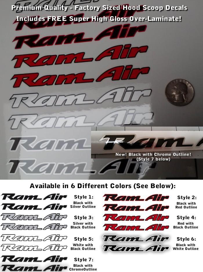 Trans Am RAM Air Hood Scoop Decals Set X2 Multicolor Outlined Premium Laminated