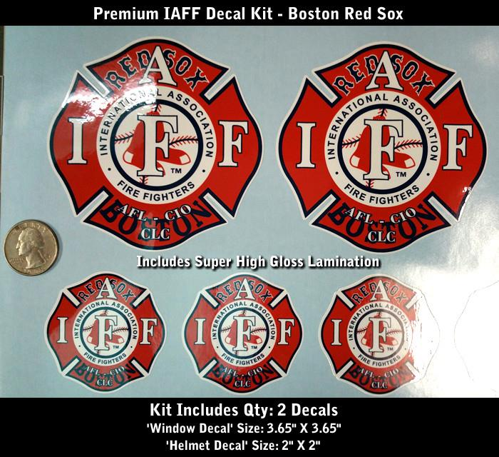 Iaff Firefighter Decals Set Boston Red Sox Premium Quality