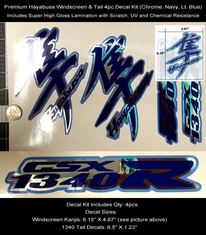 GSXR Hayabusa Kanji /& Tail Decal Kit 4pcs Windscreen Tail Chrome Laminated 0122