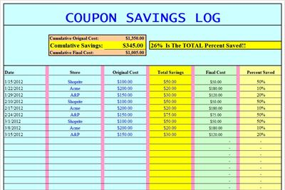 extreme couponing tracking spreadsheet excel grocery. Black Bedroom Furniture Sets. Home Design Ideas