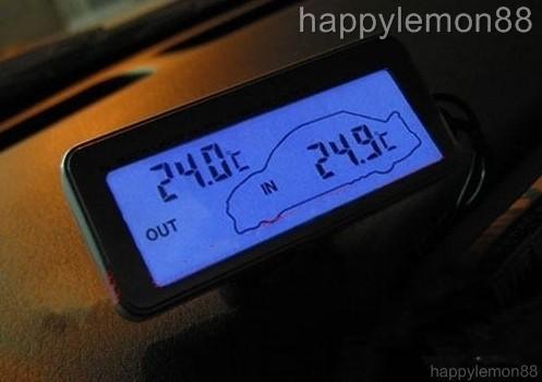 digital auto thermometer innen au en blau lcd 12v 24v ebay. Black Bedroom Furniture Sets. Home Design Ideas