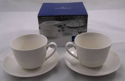 villeroy and boch twist white 2 x tea coffee cups and saucers new boxed ebay. Black Bedroom Furniture Sets. Home Design Ideas