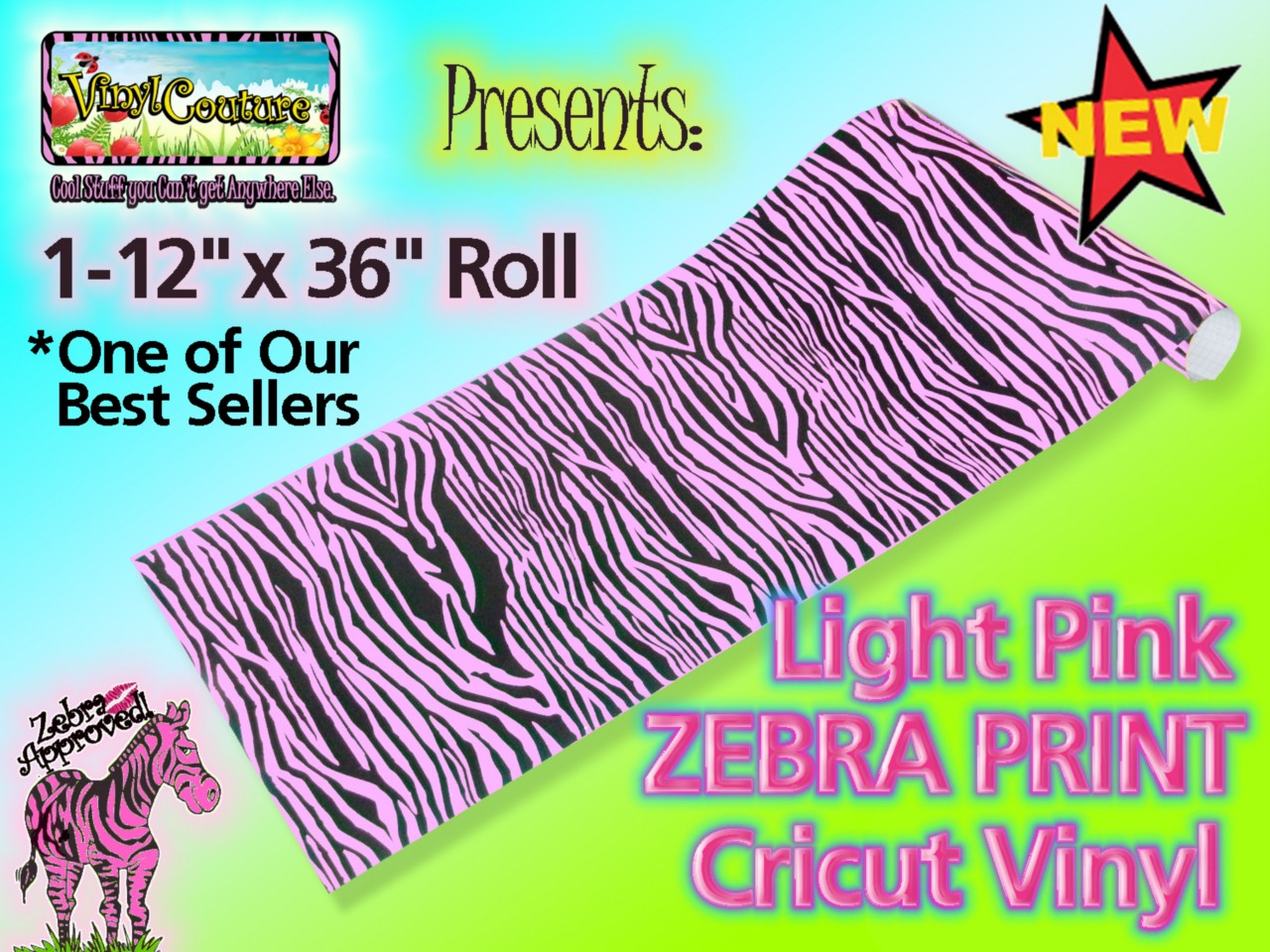 Zebra Print Soft Pink Vinyl Material Oracal Sticker 11