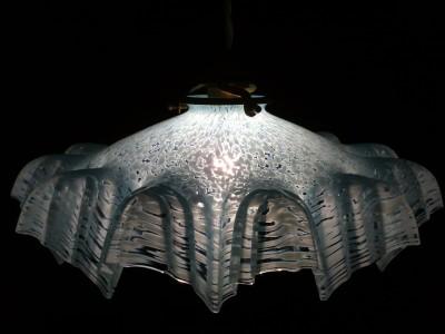 ELEGENT 1920S ANTIQUE FRENCH ART DECO SNOWFLAKE OPALINE GLASS LAMP