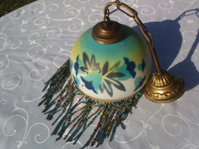 1930S ANTIQUE FRENCH ART DECO OPALINE GLASS LAMP LIGHT SHADE LAMPE