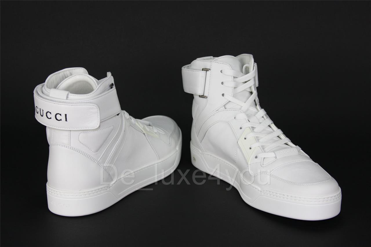 677386891b4 New Gucci Men s Classy White Leather High Top Sneakers Shoes GG 11.5 ...