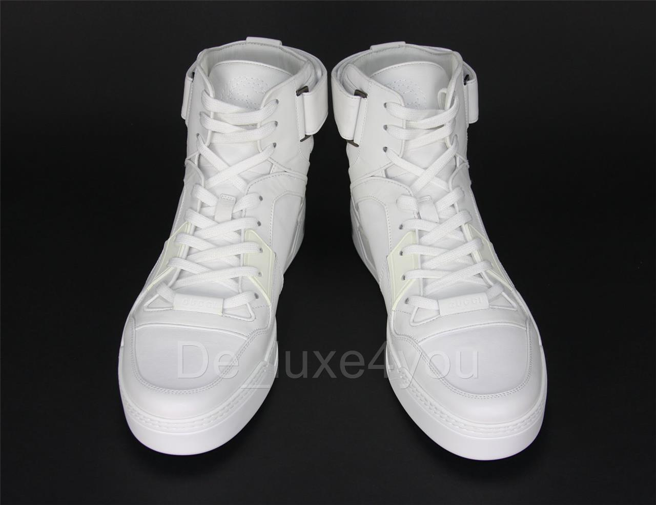 8e410d5c85f New Gucci Men s Classy White Leather High Top Sneakers Shoes GG Logo 11.5 G  - US 12.5 - Italian 46