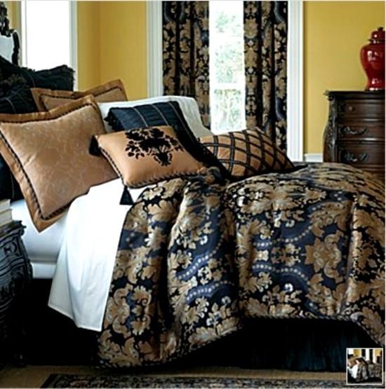 New Classic Royal Black Gold Luxurious Comforter Set King