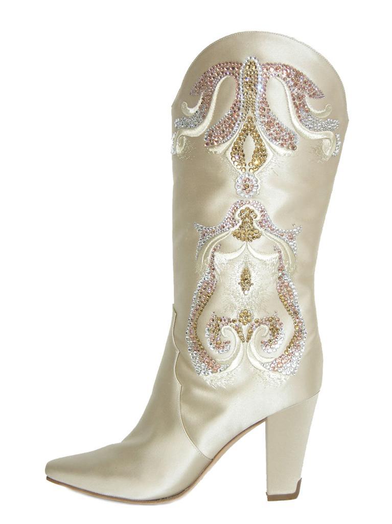 New Rare Casadei Wedding Satin Crystals Cowboy Western