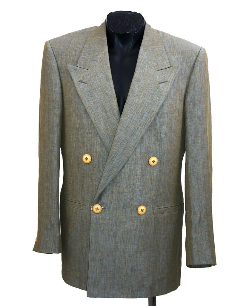 New Gianni Versace Mens 100 Linen Suit Gray Size It 46
