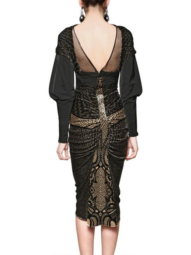 New Etro Runway Silk Taffeta And Velvet Black Gold Dress