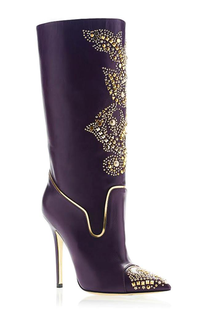 New Versace Western Style Gold Studded Stiletto Heel