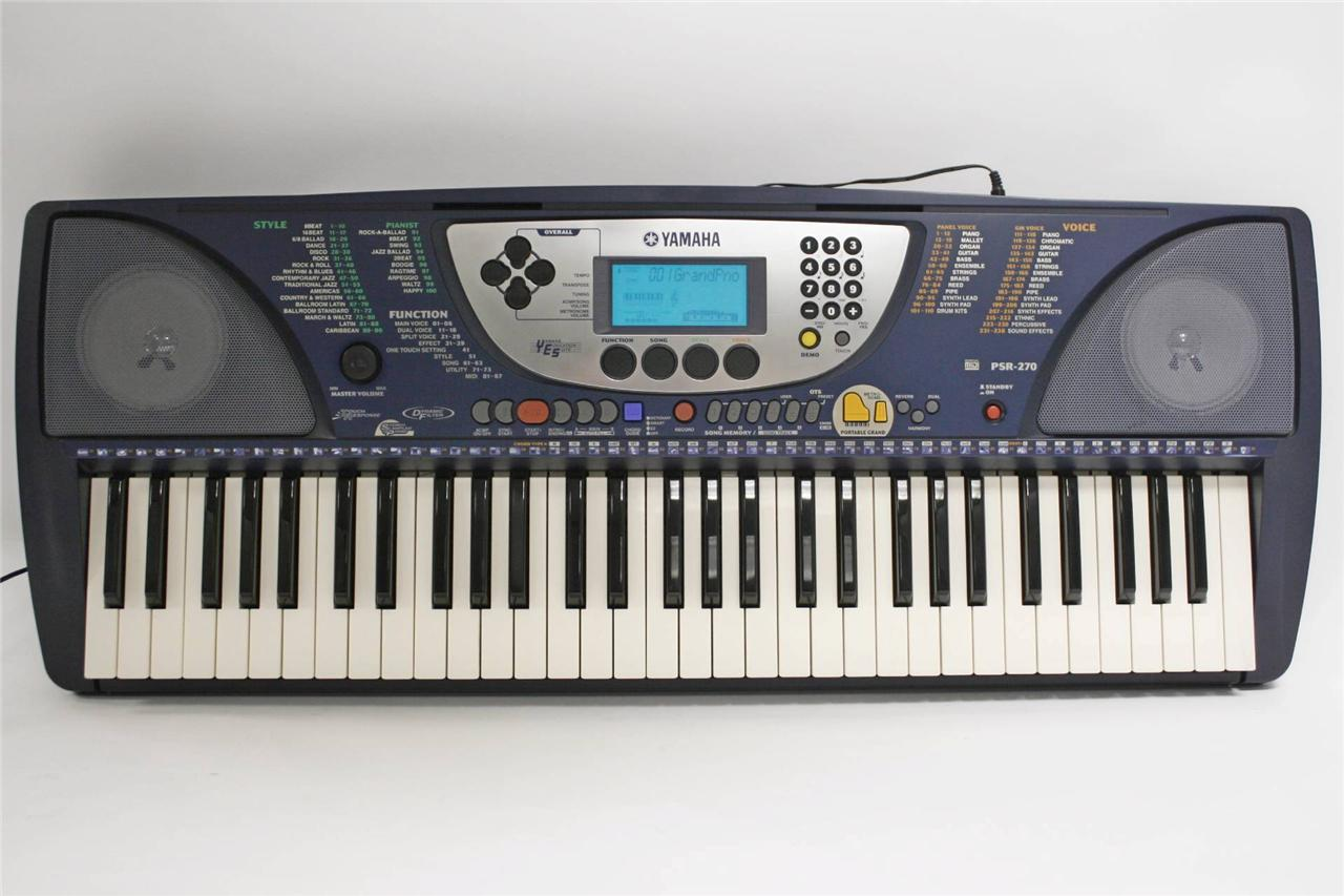 yamaha psr 270 portable electric keyboard piano synthesizer 61 key w powercord ebay. Black Bedroom Furniture Sets. Home Design Ideas