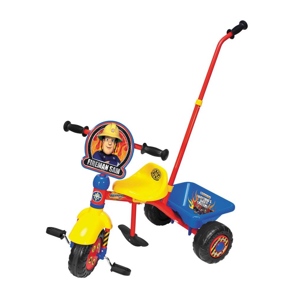 Fireman Sam Trike With Parent Handle Tricycle New Boxed Ebay