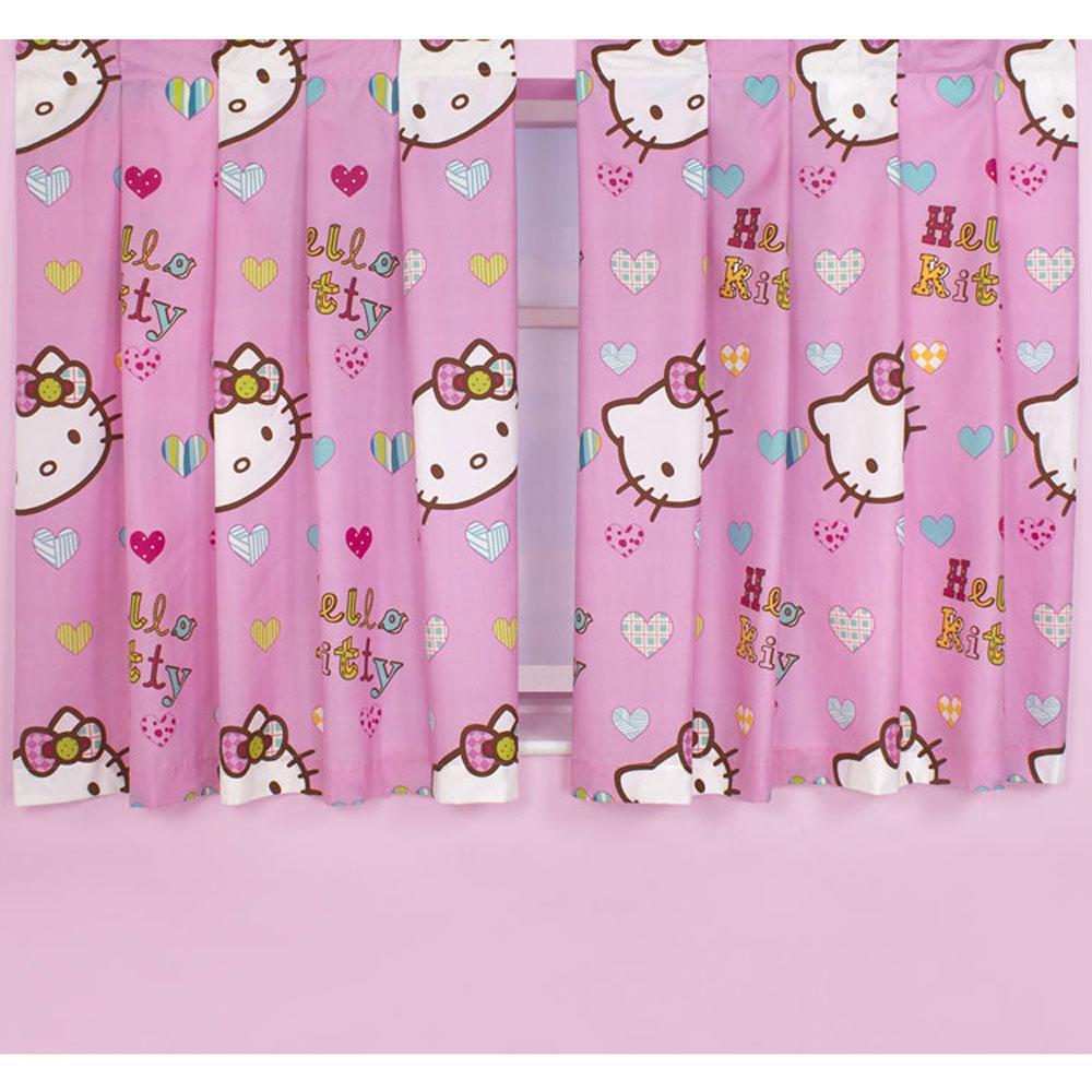hello kitty vorh nge rosa 137cm passt zu bettdecke kinder kinderzimmer ebay. Black Bedroom Furniture Sets. Home Design Ideas