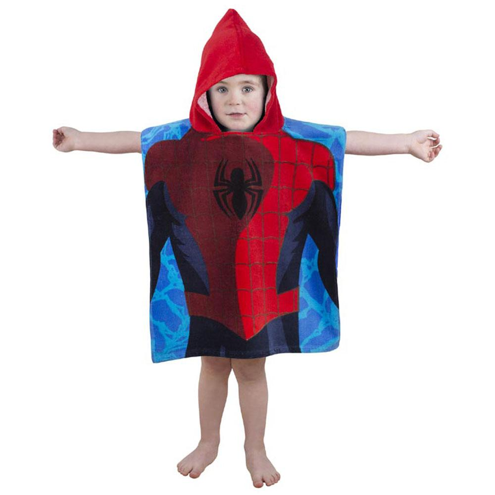 spiderman city poncho handtuch badetuch mit kapuze blau rot kinder ebay. Black Bedroom Furniture Sets. Home Design Ideas