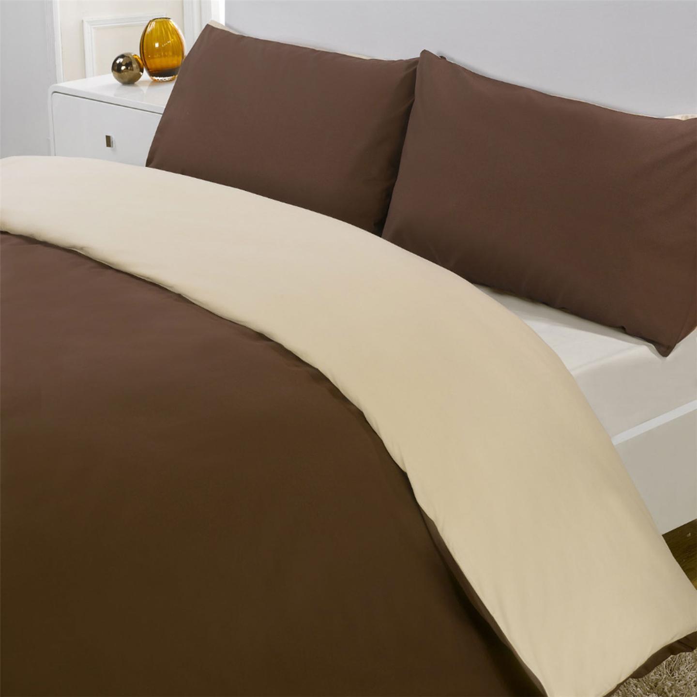 r versible chocolat cr me housse de couette 1 personne et taie d 039 oreiller set ebay. Black Bedroom Furniture Sets. Home Design Ideas
