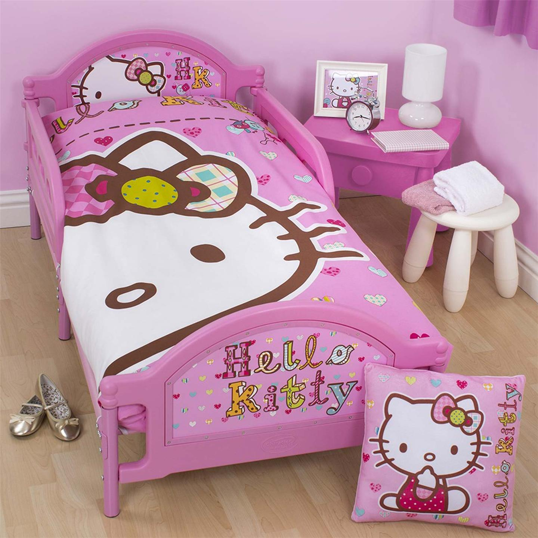 Hello Kitty Cuddle Pillow: HELLO KITTY 'FOLK' JUNIOR TODDLER BED WITH MATTRESS NEW