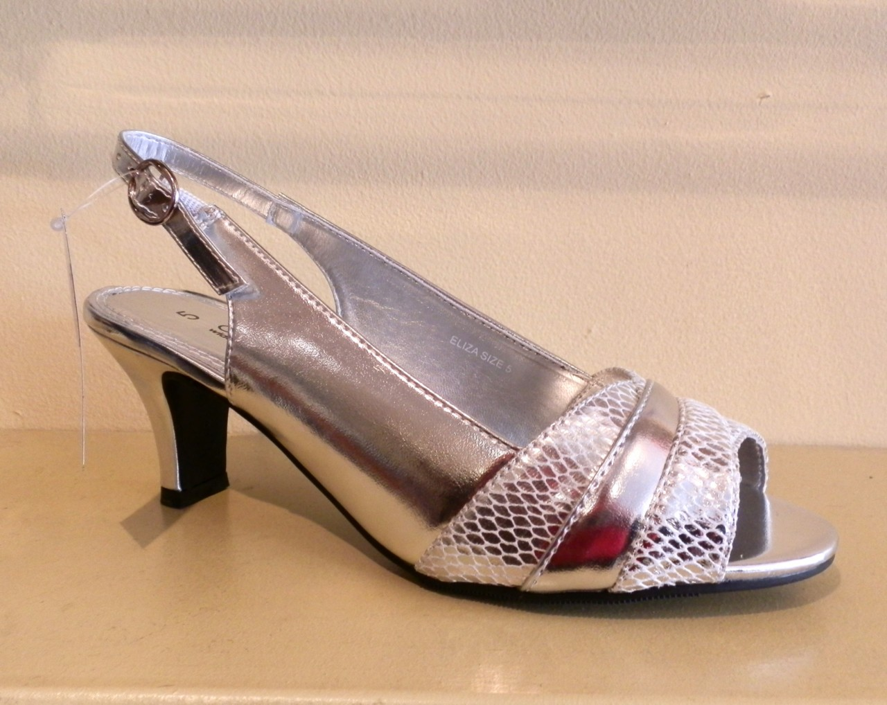 Womens Wide Fit Silver Shoes