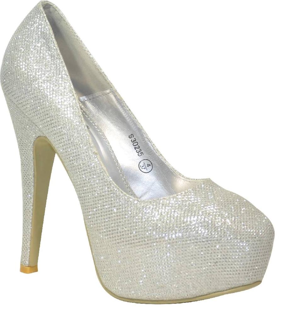 LADIES SILVER GLITTER SPARKLY PARTY PROM EVENING HIGH HEEL ...