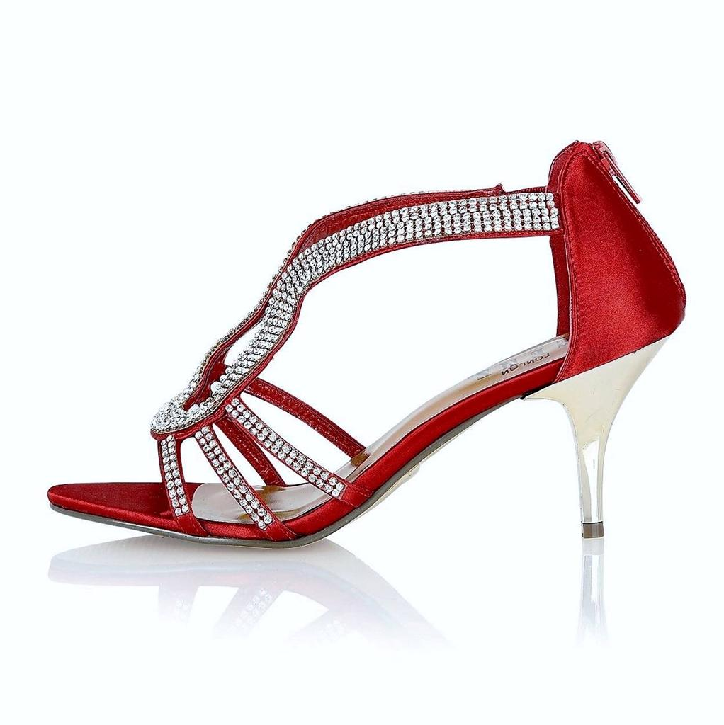 WOMENS LADIES WEDDING EVENING PARTY PROM SHOES MID HEEL