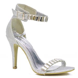 6151ac4b774 LADIES SILVER GOLD SPARKLY HIGH HEELS PARTY ANKLE STRAP EVENING SANDALS SIZE