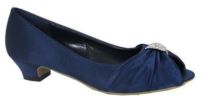 f75ed7eaee1 Ladies Silver Navy Purple Evening Wedding Party Low Heel Peep Toe Shoes  Size 3-9