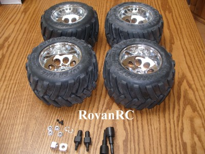 Rovan Monster Truck Tires on chrome rims with adapters fits HPI Baja