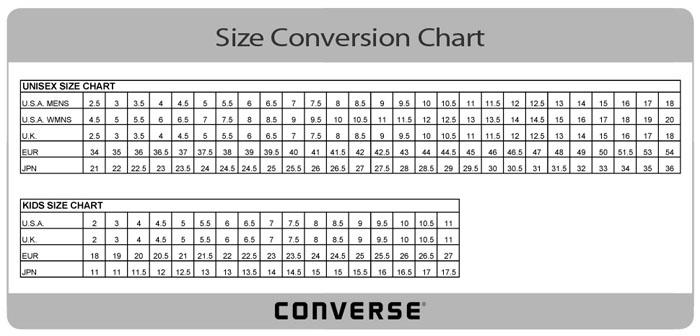 converse chuck taylor size chart