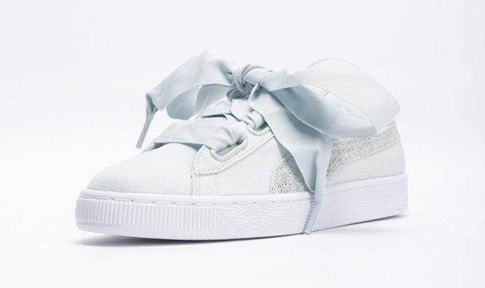 51b81cc589c7 1805 Puma BASKET HEART CANVAS Women s Sneakers Sports Shoes 366495-03. Size  Chart