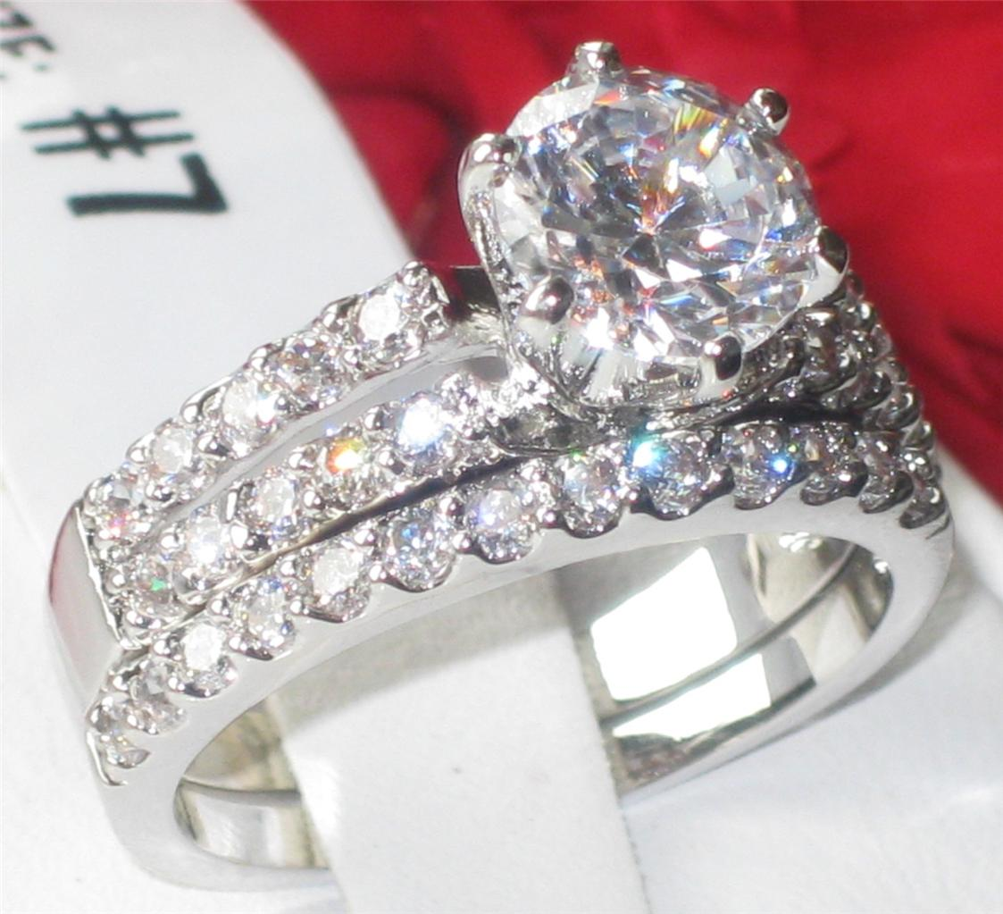 T1W009pb Womens REALISTIC SIMULATED DIAMOND WEDDING