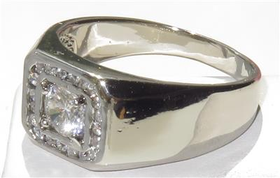 herren kanal simulierten diamant ring wei blende signet. Black Bedroom Furniture Sets. Home Design Ideas