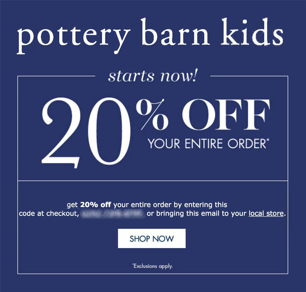 20 off pottery barn kids coupon code online in stores exp 12 23 18 10 15 ebay. Black Bedroom Furniture Sets. Home Design Ideas