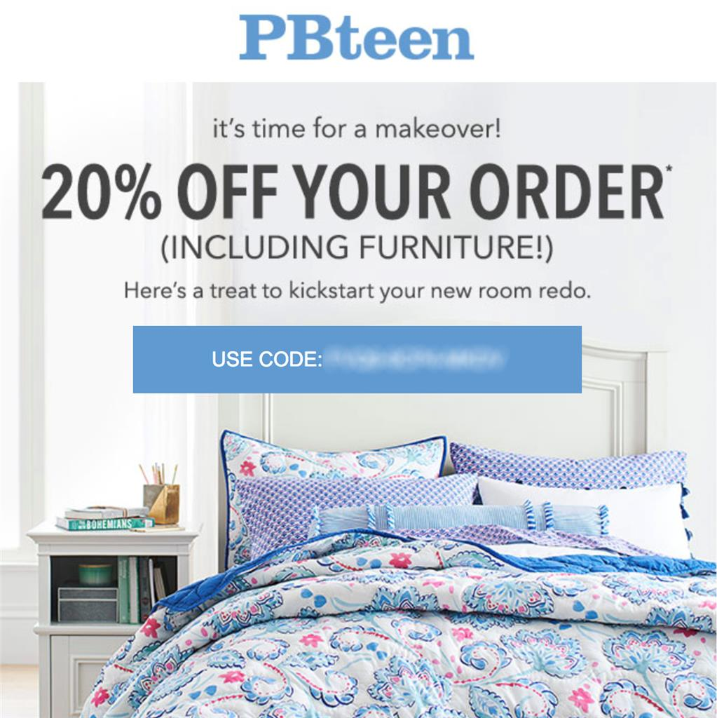 20 off pottery barn teen promo coupon code oniine exp 12 24 18 pbteen 10 15 ebay. Black Bedroom Furniture Sets. Home Design Ideas