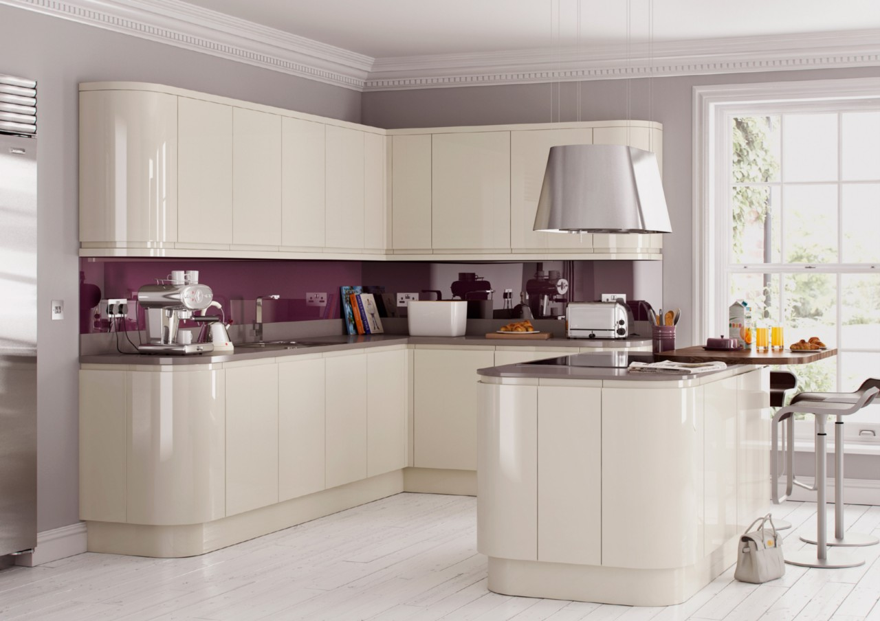 High Gloss Cream Handleless Replacement Kitchen Doors And