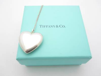 Vintage Tiffany Amp Co Sterling Silver Puffed Heart Pendant